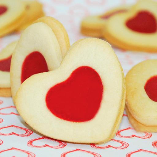 Galletas rellenas en forma de corazón
