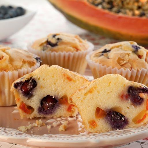 Muffins de papaya y arándanos